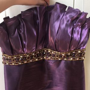 Purple and Gold Beading Prom Dress
